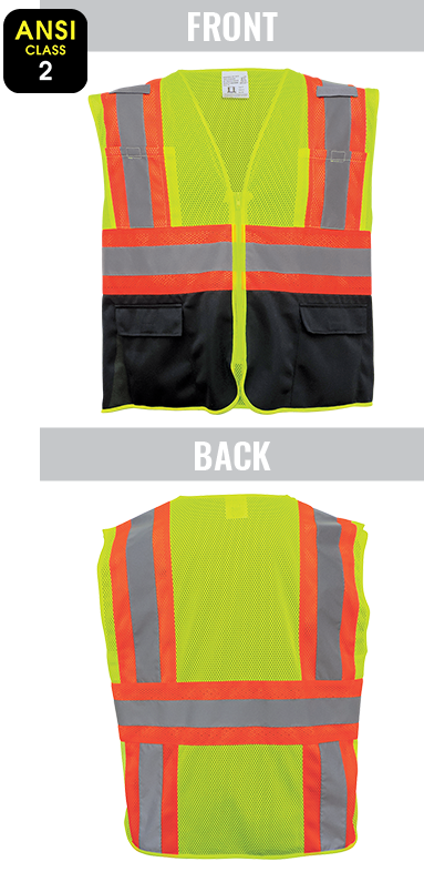 GLO-0036 - FrogWear® HV - High-Visibility Mesh Polyester Surveyors Safety Vest