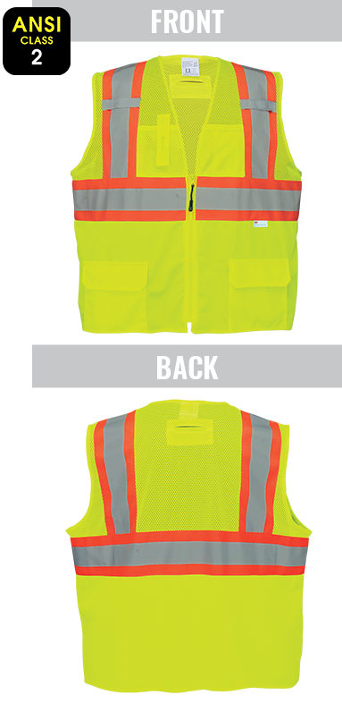 GLO-0037 - FrogWear® HV - High-Visibility Solid and Mesh Polyester Surveyors Safety Vest