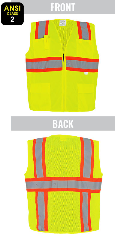 GLO-003 - FrogWear® - ANSI class 2 yellow/green surveyor's safety vest, solid front, lightweight mesh polyester back, 3M™ reflective material, zipper closure, four front pockets.