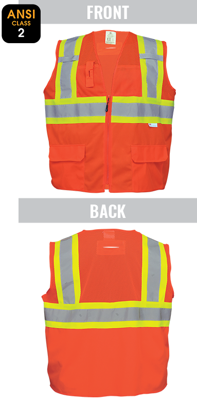 GLO-0047 - FrogWear® Solid Bottom and Mesh Class 2 Surveyor Vest