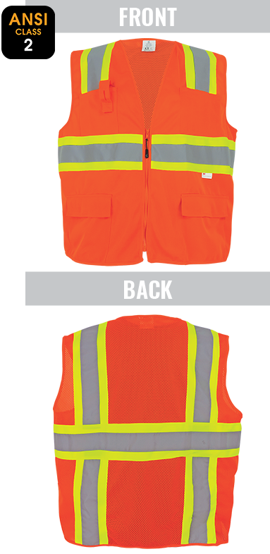 GLO-004 - FrogWear® - ANSI class 2 orange surveyor's safety vest, solid front, lightweight mesh polyester back, 3M™ reflective material, zipper closure, 4 pockets.