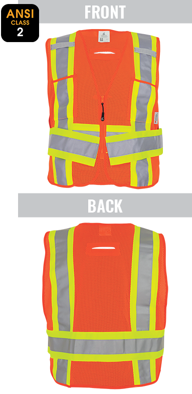 GLO-005ADJ -FrogWear® HV - High-Visibility Lightweight Mesh Polyester Adjustable Safety Vest