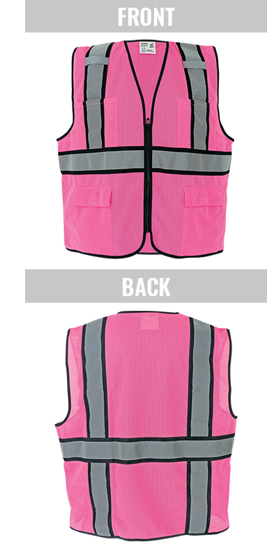 GLO-0066 - FrogWear® HV - Enhanced Visibility Pink Surveyors Safety Vest
