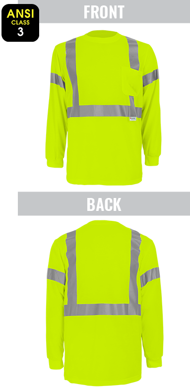 GLO-008LS - FrogWear® HV - High-Visibility Self Wicking Polyester Long Sleeve Shirt