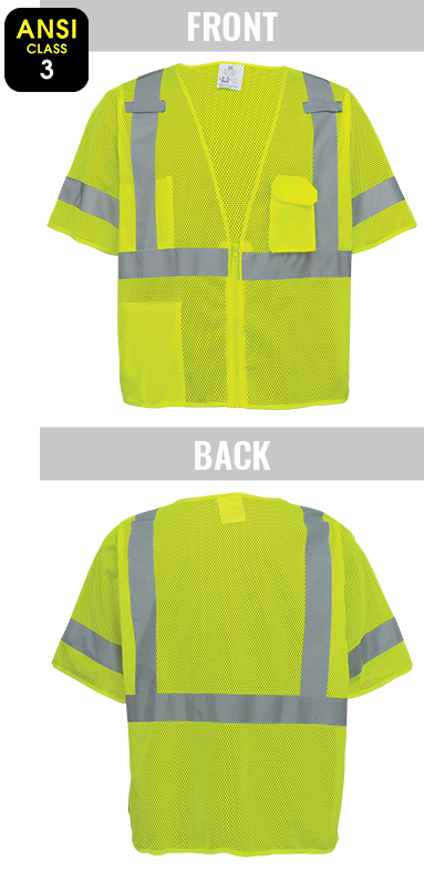 GLO-011 - FrogWear® HV - High-Visibility Mesh Polyester Short Sleeved Safety Vest