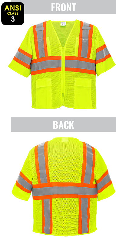 GLO-0135 - FrogWear® HV - High-Visibility Mesh Polyester Surveyors Safety Vest