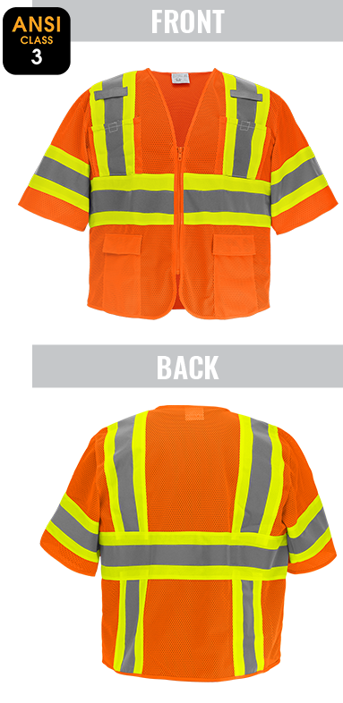 GLO-0145 - FrogWear® HV - High-Visibility Mesh Polyester Surveyors Safety Vest