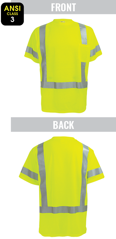 GLO-018 - FrogWear® HV - High-Visibility Self Wicking Polyester Short Sleeved Shirt
