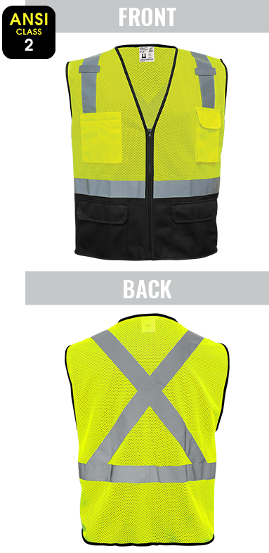 GLO-019 FrogWear® - ANSI class 2 lightweight yellow/green mesh polyester safety vest, black bottom, X back design, 3M™ reflective material, 6 pockets, zipper closure.