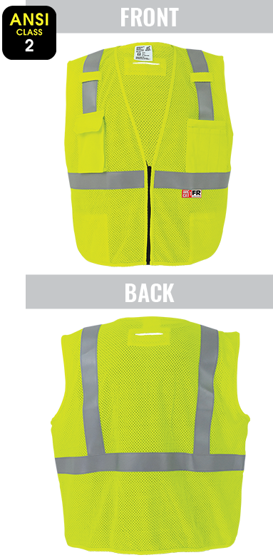 GLO-022FR - FrogWear® HV - Anti-Static Flame-Resistant High-Visibility Yellow/Green Surveyors Vest