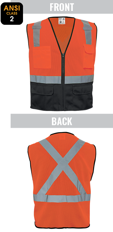 GLO-049 FrogWear® - ANSI class 2 lightweight orange mesh polyester safety vest