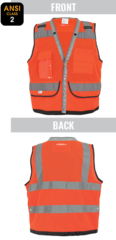 GLO-058 FrogWear® - ANSI class 2 lightweight high-visibility orange mesh polyester surveyor's safety vest