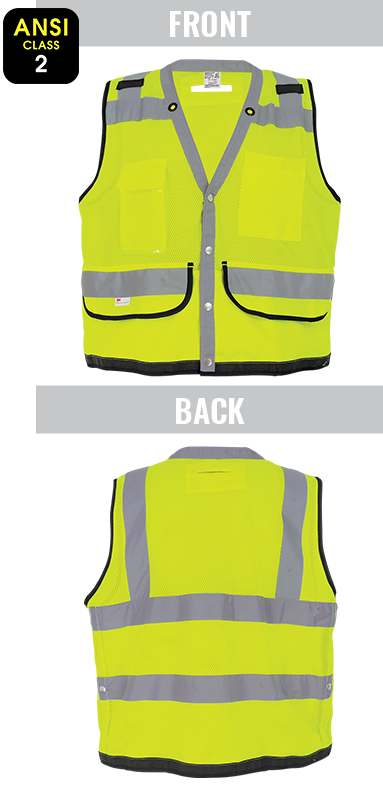 GLO-059 FrogWear® - ANSI class 2 lightweight high-visibility yellow/green mesh polyester surveyor's safety vest