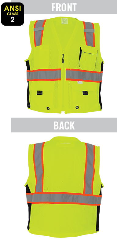 GLO-079 - FrogWear® HV - High-Visibility Mesh Polyester Surveyors Safety Vest