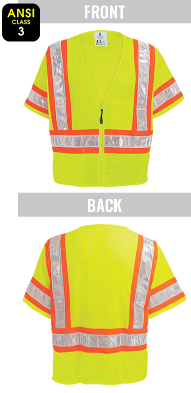 GLO-12LED - FrogWear® HV - High-Visibility Lightweight Mesh Safety LED Vest