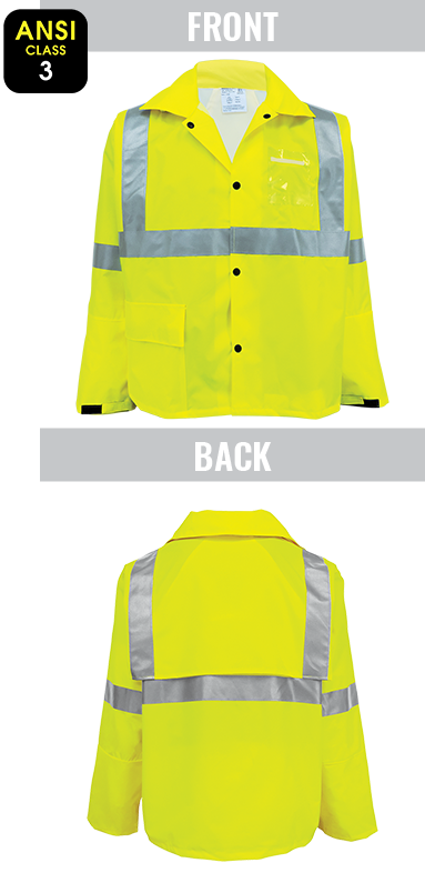 GLO-1400 - FrogWear® HV - High-Visibility Yellow/Green Rain Jacket