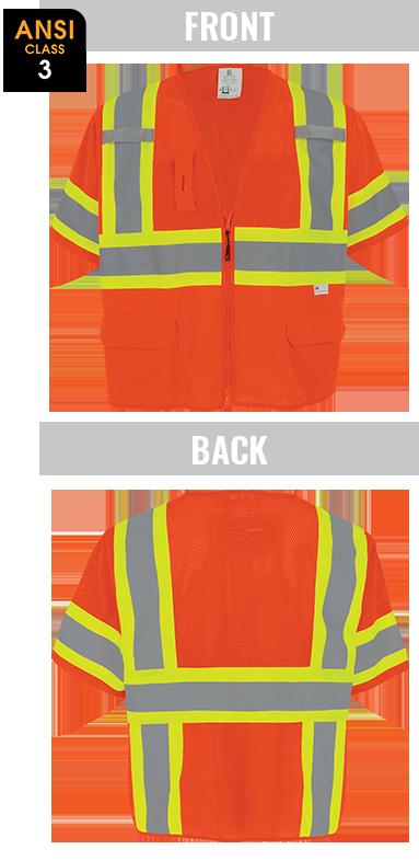 GLO-147 - FrogWear® HV - High-Visibility Mesh/Solid Polyester Surveyors Safety Vest