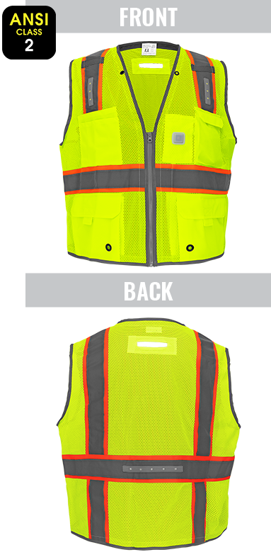 GLO-15LED - FrogWear® Premium High-Visibility Surveyors LED Safety Vest