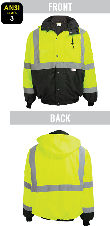 GLO-EB1 - FrogWear® High-Visibility Black Interior Winter Bomber Jacket