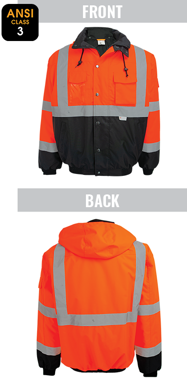 GLO-EB4 - FrogWear® HV - High-Visibility Orange Winter Bomber Jacket