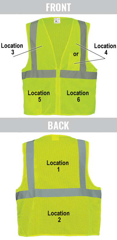 Vest Imprinting Locations Guide